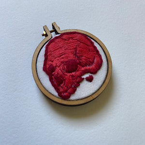 Embroidered Skull Mini (two-tone red)