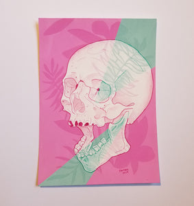 Pink and Green Skull (5x7)
