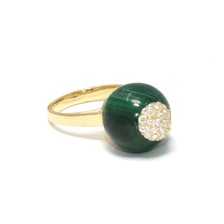 One of a Kind Malachite Sphere Ring