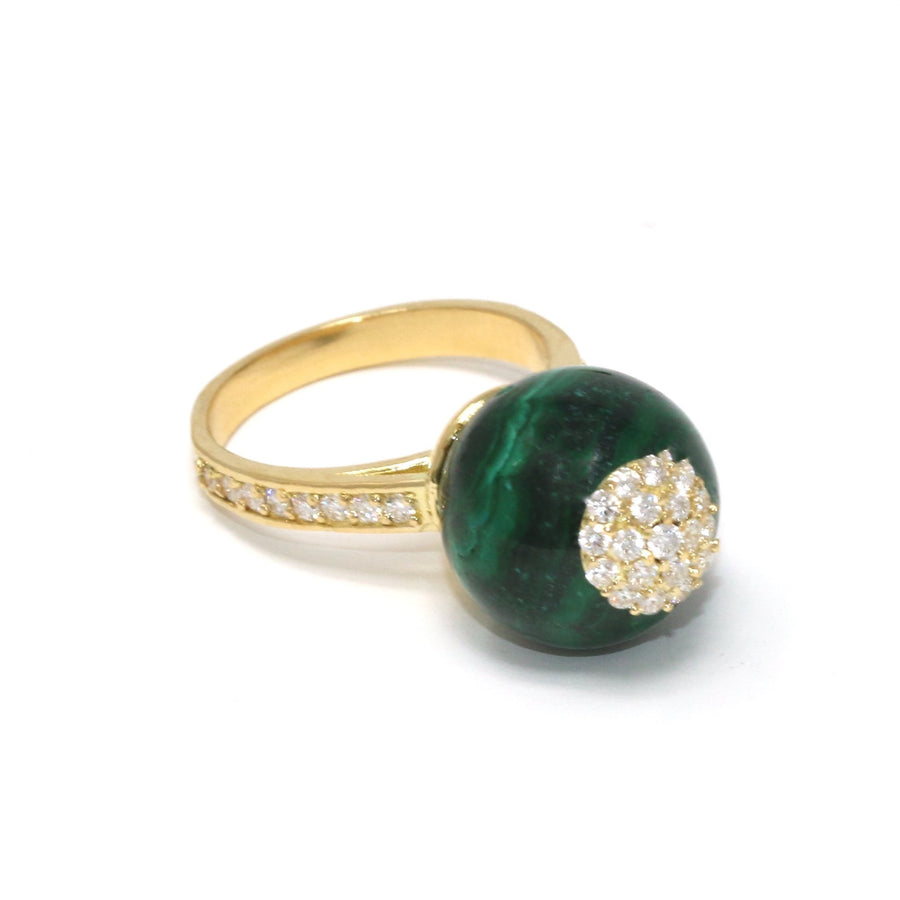 One of a Kind Malachite Sphere Ring Diamonds