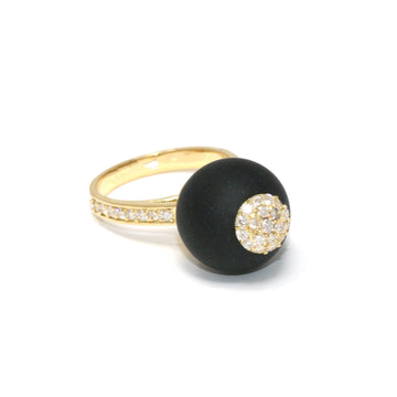 One of a Kind Onyx Sphere Ring Diamonds