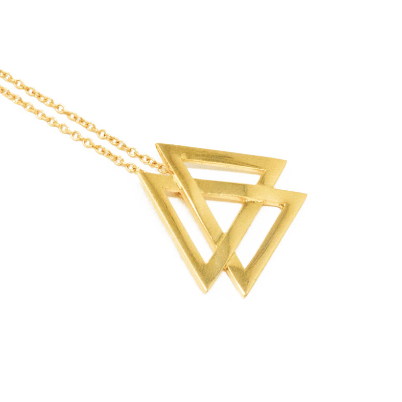 Black Star Triple Triangle Necklace