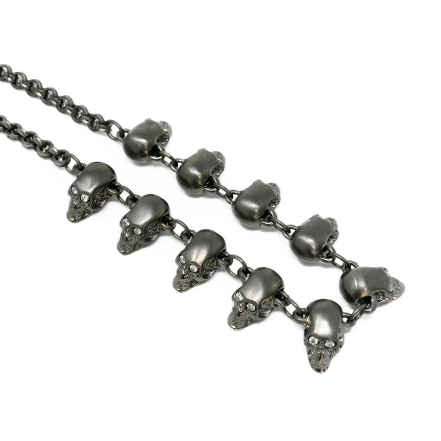 Gunmetal Diamond Skull Necklace