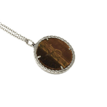 Cult Collection Zodiac Necklace - Tiger's Eye - White Gold