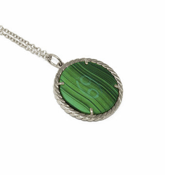 Cult Collection Zodiac Necklace - Malachite - White Gold