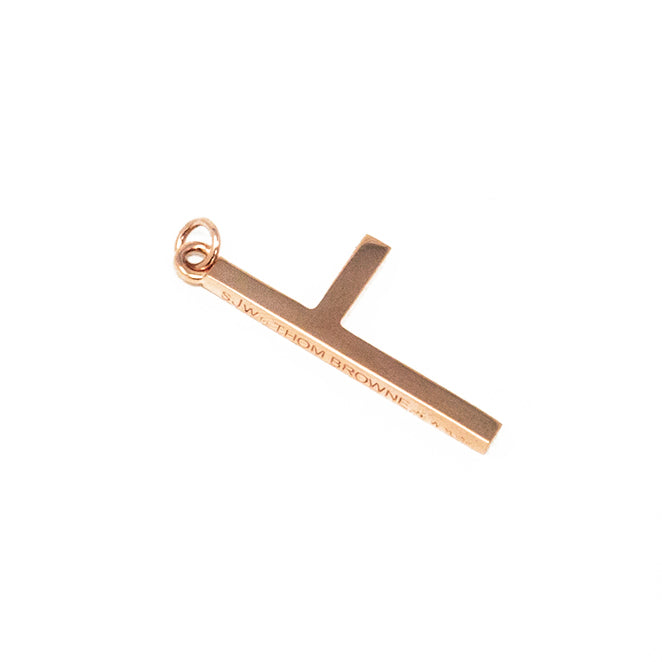 One Sided Cross Necklace - Rose Gold - Large