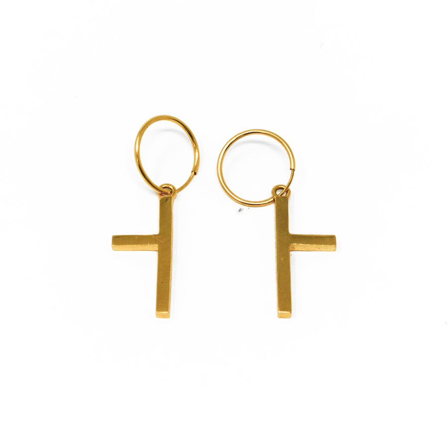One Sided Cross Earrings - Yellow Gold - Small