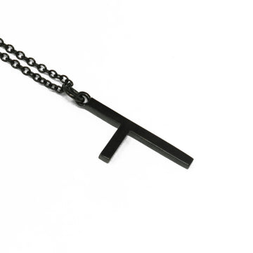 One Sided Cross Necklace - Black Gold - Small