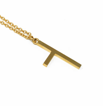 One Sided Cross Necklace - Yellow Gold - Small