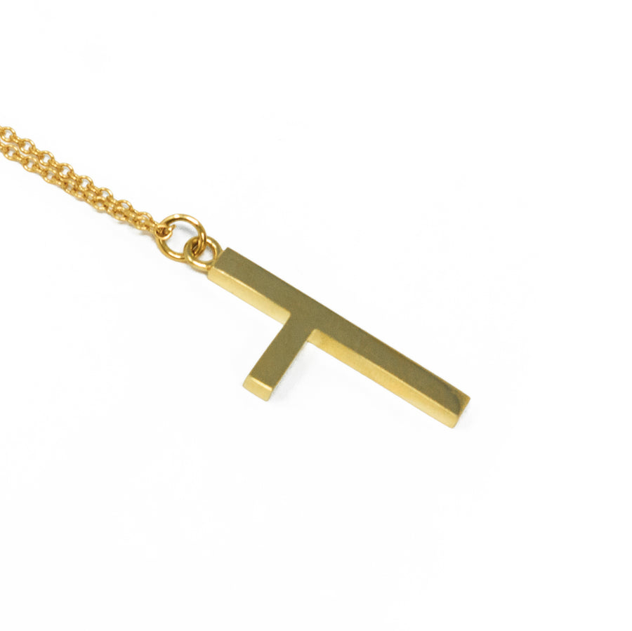 One Sided Cross Necklace - Yellow Gold - Large