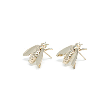 Pests Bee Earrings - White Gold