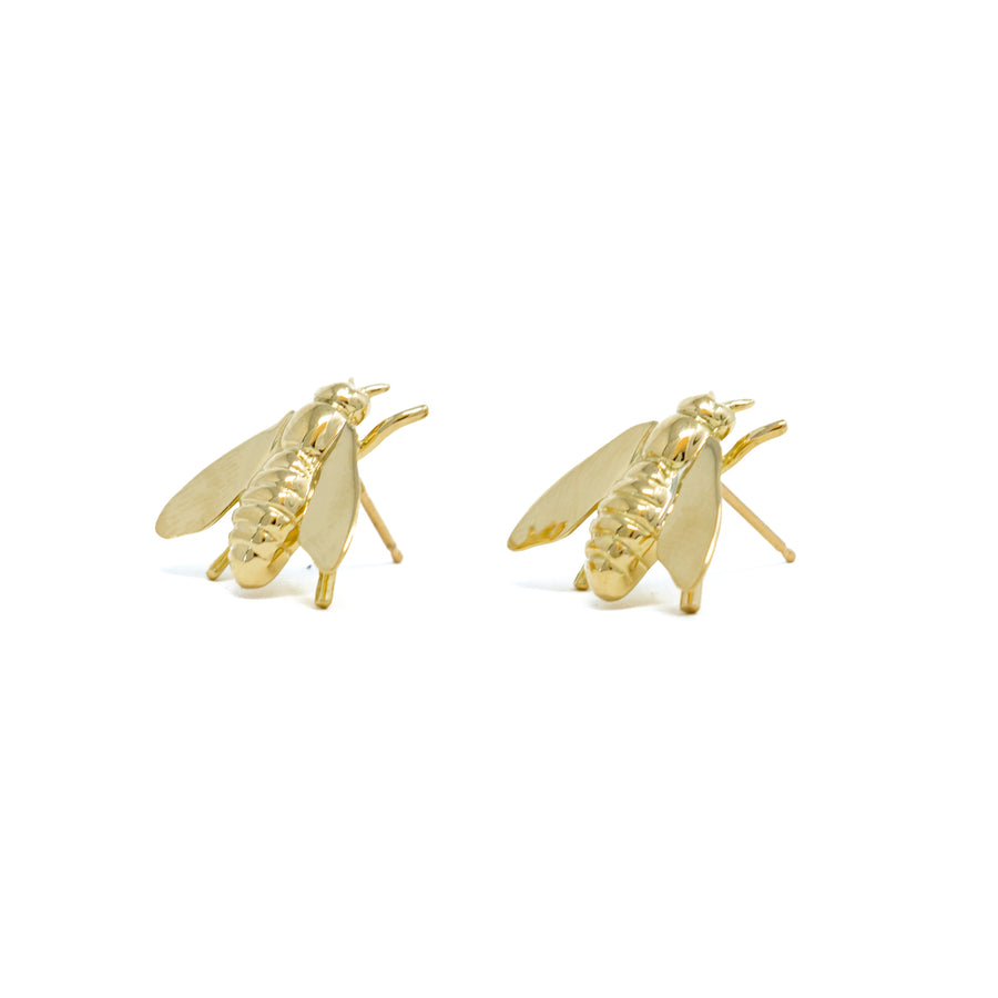 Pests Bee Earrings - Yellow Gold