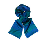 Emerald Blue Check Silk Satin