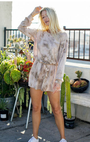 Tie Dye Romper Long Sleeve Shorts