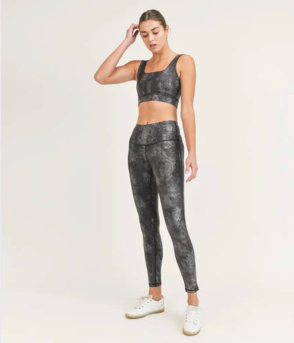 Mono B Black Gray Snake Foil Print High Waist Leggings with Sports Bra