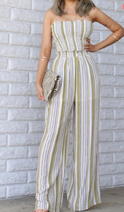 Esther Olive Striped Woven Jumpsuit