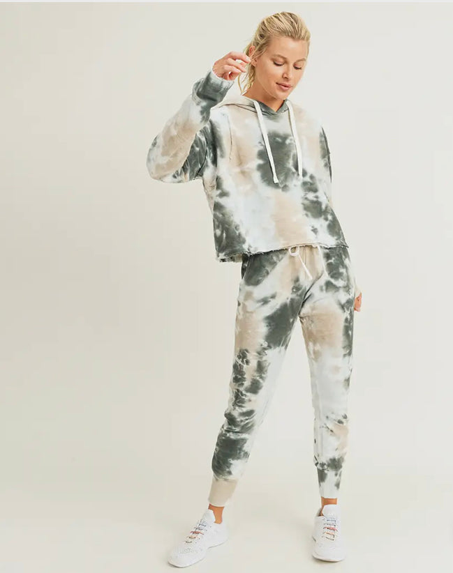 Mono B Tie-Dye Jacquard Cropped Pullover with Drawstring Sweatpants