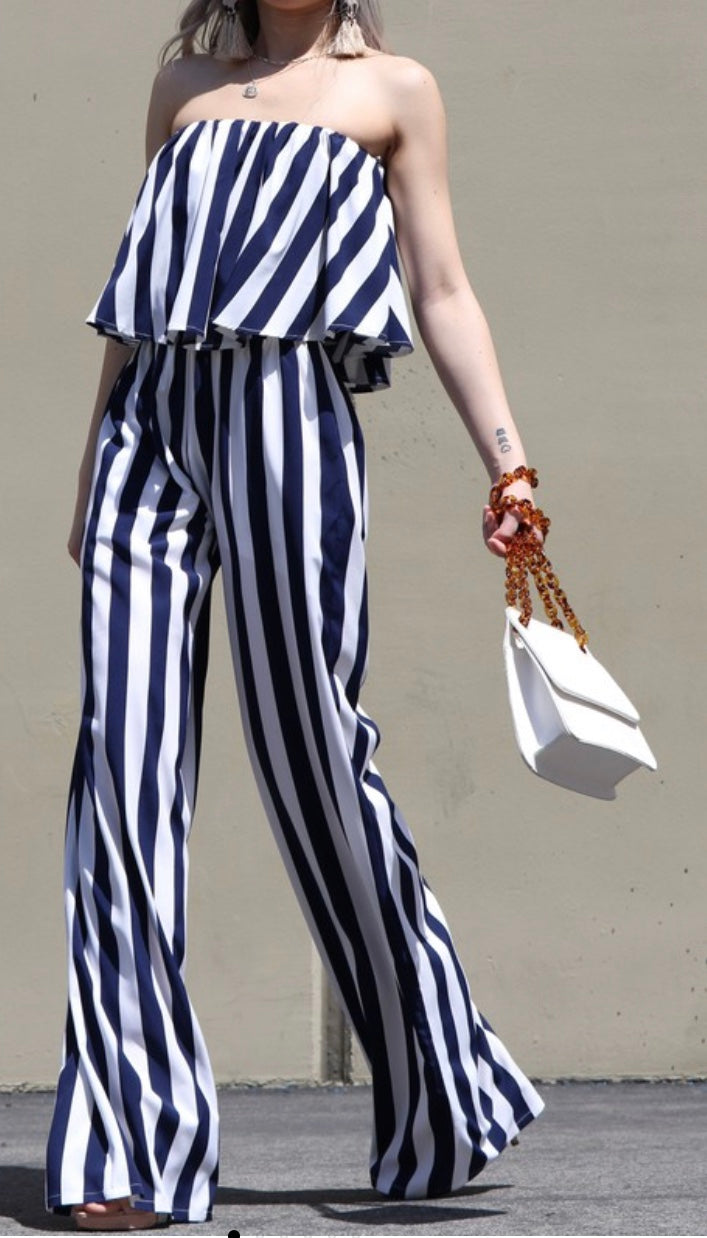 Rose Navy Striped Woven Jumpsuit