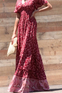 Esther Paisley Border Printed Maxi Summer Dress