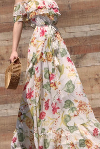 Esther Floral Printed Off-Shoulder Summer Dress