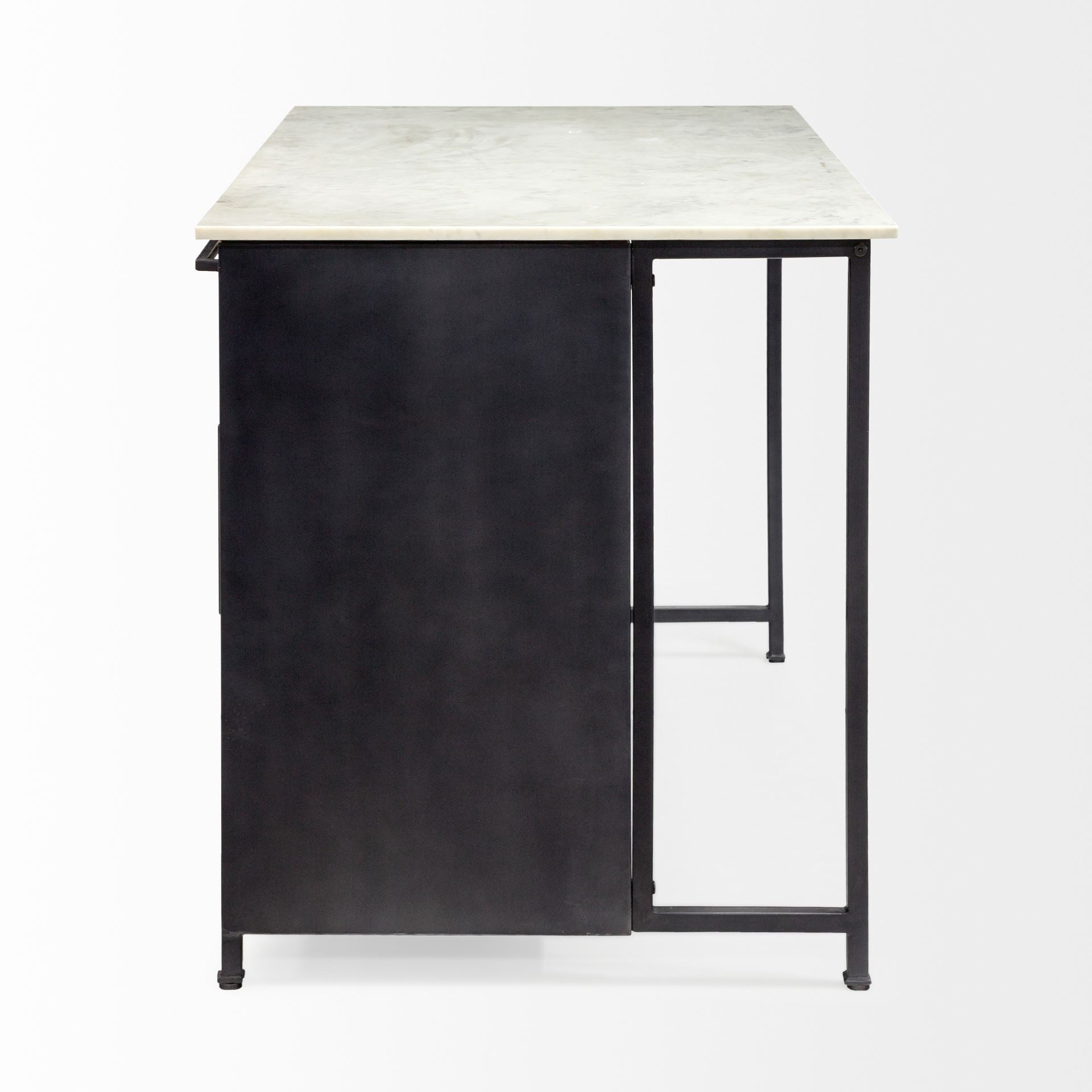 Lucile Black Toned Kitchen Island White Marble Top Virgil Stanis Design