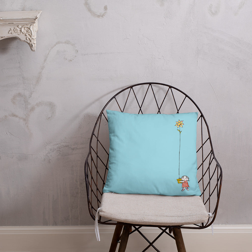 Blue pillow with both Little Anna and Little Ghost Laban