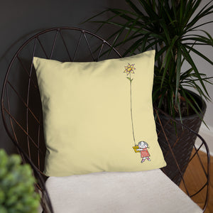 Yellow pillow with both Little Anna and Little Ghost Laban