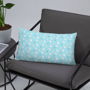 Blue pillow with Little Ghost Laban