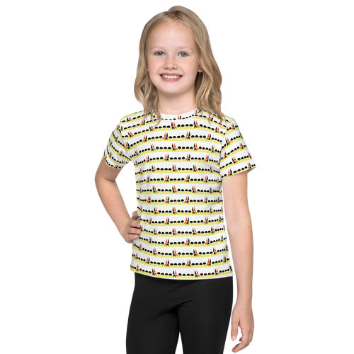 Button & Popper mushroom town kids t-shirt