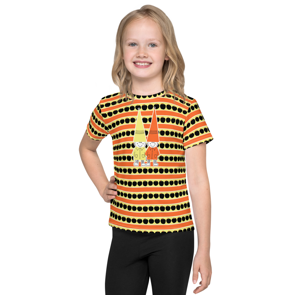 Button & Popper orange apple stripes kids t-shirt