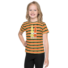 Load image into Gallery viewer, Button & Popper orange apple stripes kids t-shirt