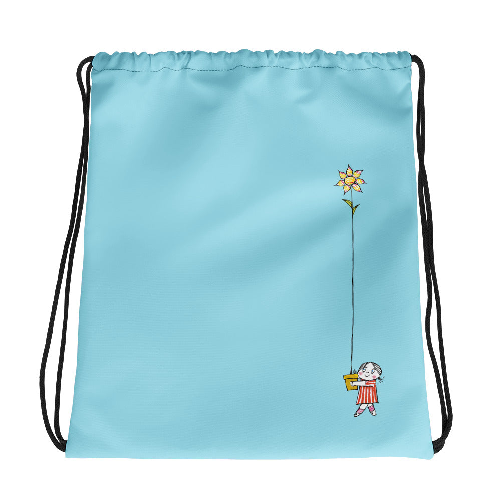Little Anna and her flower Drawstring bag in blue