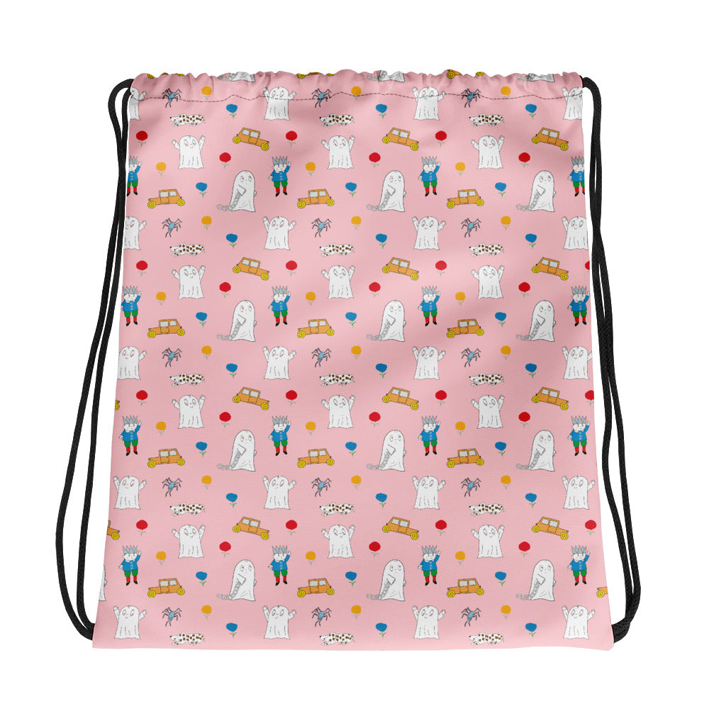 Little Spook Laban and cars Drawstring bag in pink