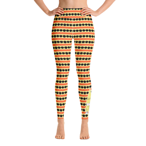 Button & Popper orange apple stripes yoga leggings