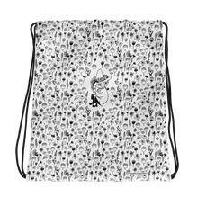 Load image into Gallery viewer, Snufkin flower garden black on white drawstring bag