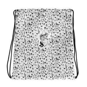 Snufkin flower garden black on white drawstring bag