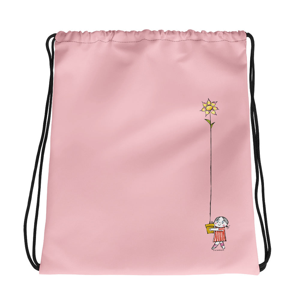 Little Anna and her flower Drawstring bag in pink