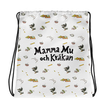 Load image into Gallery viewer, White Mamma Moo and the Crow Drawstring bag