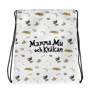White Mamma Moo and the Crow Drawstring bag