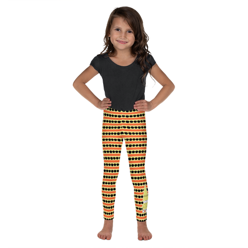 Button & Popper orange apple stripes kid's leggings