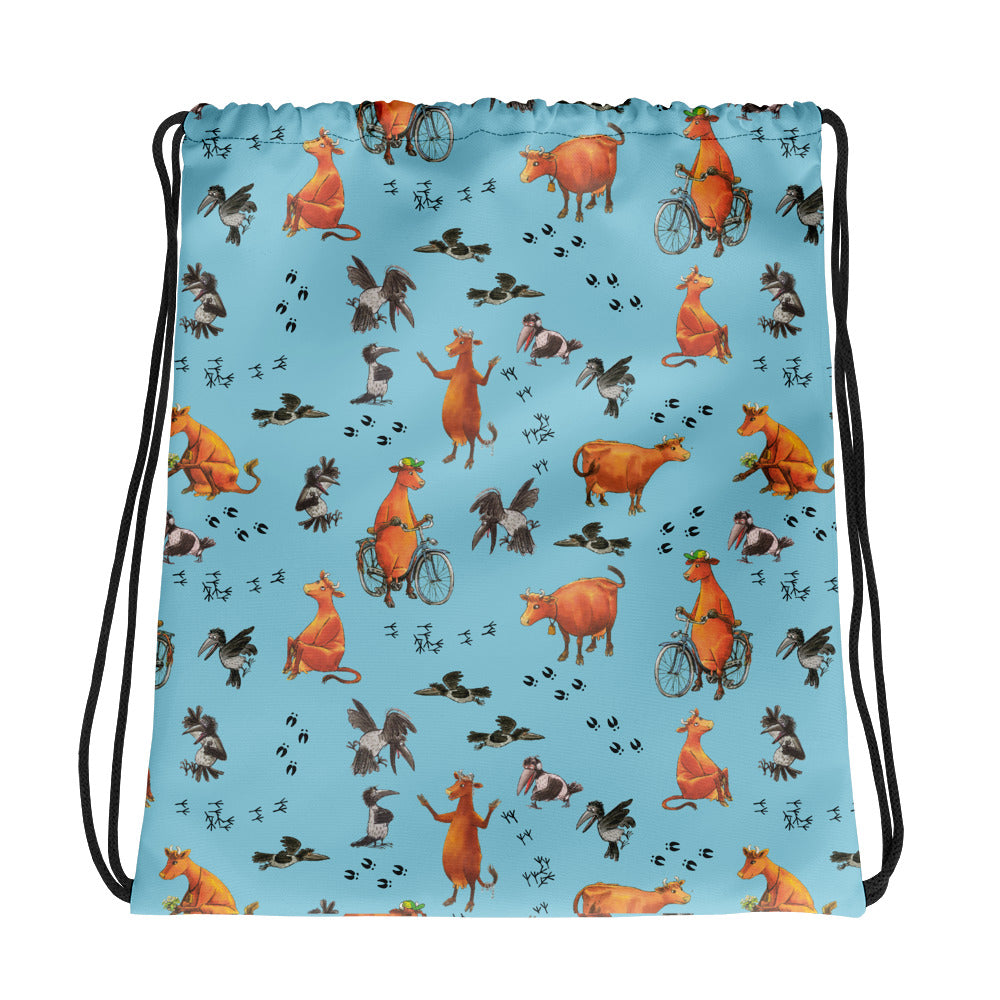 Blue Mamma Moo and the Crow Drawstring bag