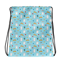 Load image into Gallery viewer, Little Spook Laban and cars Drawstring bag in blue
