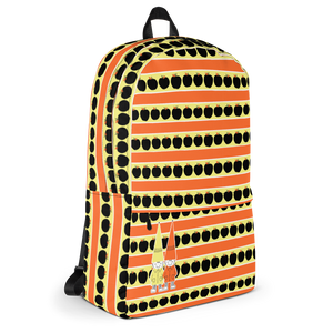 Button & Popper orange apple stripes backpack