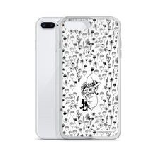 Load image into Gallery viewer, Snufkin flower garden black on white iPhone case