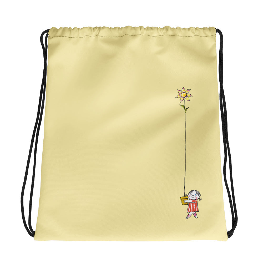 Little Anna and her flower Drawstring bag in yellow