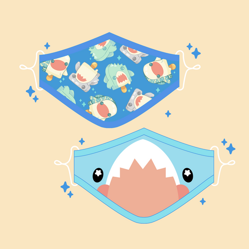 Cute Shark Face Mask Set