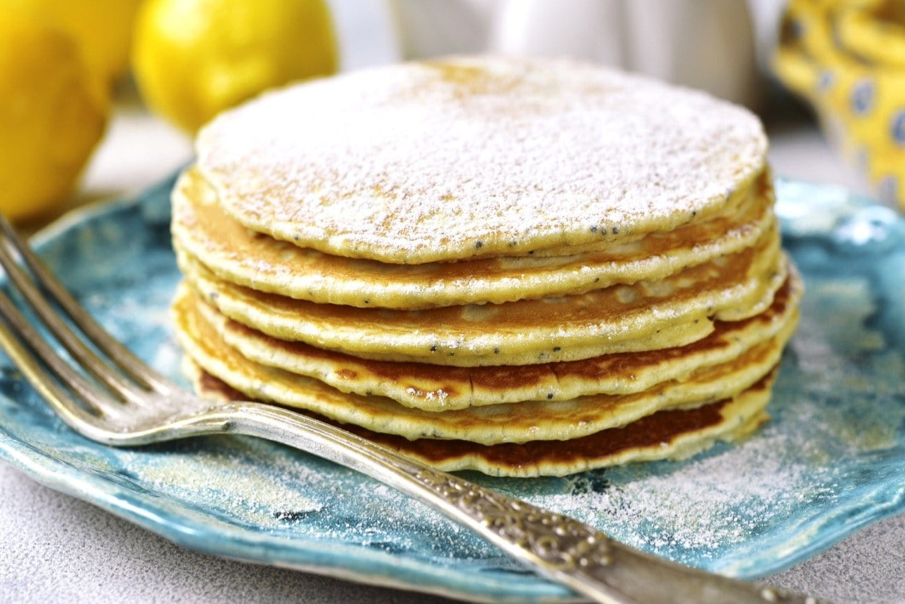 Lemon and Poppy Seed Pancakes with Oat Cream