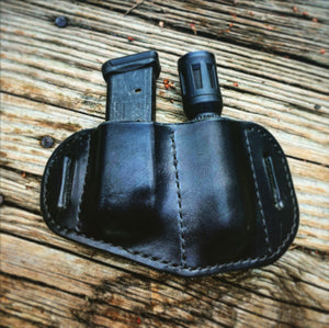 Black Belt-mounted Double Pouch