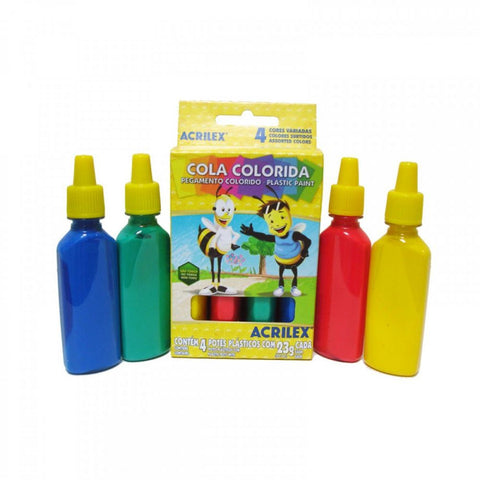Cola Colorida Plastic Paint 4 Cores Acrilex