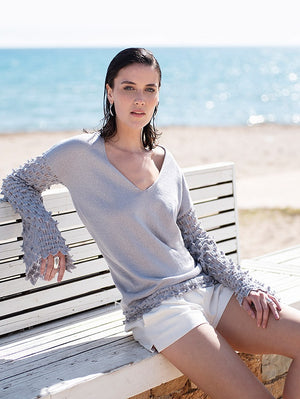 Silver Knitted Blouse NIMA Liminal Knitting